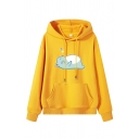 Cute Trendy Long Sleeve Drawstring Cat Printed Kangaroo Pocket Baggy Hoodie for Women