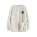 Cute Christmas Tree Snowman Print Long Sleeve Lambs Wool Pullover Sweatshirt with Cross Bag