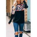 Stylish Ladies Long Sleeve Round Neck Floral Printed Thin Midi Relaxed Pullover Sweatshirt