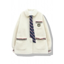 Preppy Girls' Long Sleeve Lapel Collar Necktie Embellished Pockets Pocket Contrasted Sherpa Oversize Jacket in White