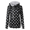 Cute Women's Long Sleeve Drawstring Heart Patterned Pocket Side Midi Relaxed Hoodie