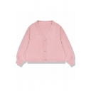 Cute Plain Blouson Sleeve V-Neck Button Down Purl-Knit Relaxed Short Cardigan for Girls