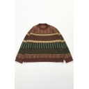 Retro Colorblock Geometric Knitted Long Sleeve Round Neck Loose Fit Sweater