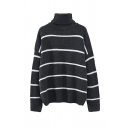 Warm Soft Long Sleeve Turtle Neck Stripe Print Baggy Purl-Knit Pullover Sweater for Women