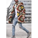 Creative Color Blocked Plaid Geometric Pattern Long Sleeve Tunic Woolen Jacket Coat