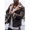 Vintage Sherpa Lined Notched Collar Long Sleeve Belted Hem Faux Leather Jacket for Men