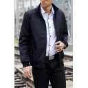 Mens Simple Plain Stand Collar Long Sleeve Zip-Up Daily Wear Leisure Jacket Coat