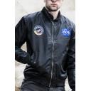 Classic NASA Logo Letter Printed Ribbon Embellished Long Sleeve Zip Up Bomber Jacket
