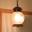 Round Wooden Drop Pendant Traditional 1-Light Brown Hanging Ceiling Lamp with Clear Glass Ball Shade
