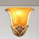 1 Light Wall Sconce with Bell Opal/Yellow Glass Shade Vintage Style Living Room Silver/Gold Finish Wall Mounted Lamp
