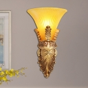 Golden 1 Head Wall Light Fixture Retro Style Resin and Yellow Glass Bell Shade Sconce Light Fixture