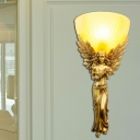 Yellow Glass Bowl Flush Wall Sconce Lodge Style 1 Light Bedroom Wall Light with Gold/Silver/White Angel Backplate