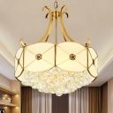 Gold Scalloped Chandelier Pendant Light Colonial Milk Glass 4 Lights Restaurant Suspension Lamp