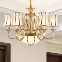 Gold 6 Heads Ceiling Chandelier Colony Metal Sputnik Suspended Lighting Fixture with Curved Frosted White Glass Shade