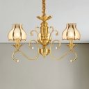 Gold Dome Ceiling Chandelier Colonialist Frosted Glass 3/5/6 Heads Suspended Lighting Fixture