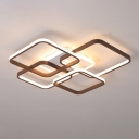 Traverse Acrylic Flush Mount Lamp Modern Brown LED Ceiling Fixture in Warm/White Light, 23.5