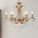 Curved Arm Pendant Chandelier Traditionary Metal 3/6 Heads Brass Ceiling Hanging Light with Clear Crystal Drop, 17