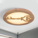 Round Living Room Flush Ceiling Light Wood Led Contemporary Style Flush Mount in Beige with Key Pattern