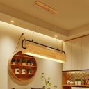 Wood Rectangle Ceiling Chandelier Nordic Beige LED Hanging Light Fixture in Warm Light, 27.5