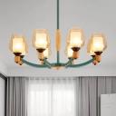Grey/Green Cup Shape Chandelier Lighting Modernist 8 Lights Dimpled Blown Glass Pendant Ceiling Lamp