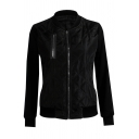 Women's Classic Long Sleeve Zipper Front Contrasted Relaxed Fit Jacket