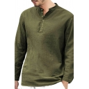 Metrosexual Mens Simple Plain Long Sleeve Relaxed Fit Button Front Henley Shirt