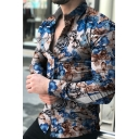 Mens Unique Butterfly and Floral Printed Long Sleeve Lapel Collar Fitted Hawaiian Shirt