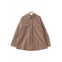 Casual Women's Long Sleeve Lapel Collar Plaid Printed Flap Pockets Button Front Oversize Shirt
