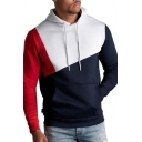 Mens New Trendy Cut and Sew Colorblocked Drawstring Hoodie with Kangaroo Pocket