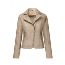 Trendy Girls' Long Sleeve Notch Lapel Collar Zipper Front Pockets Side Ruched Fitted Leather Plain Jacket
