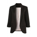 Formal Work Ladies' Roll Tab Sleeve Notch Collar Pockets Side Slim Fit Plain Blazer