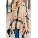 Fashion Street Women's Turtle Neck Plaid Pattern Fringe Baggy Poncho Sweater