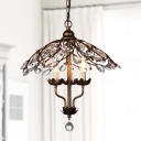 Candle Teardrop Crystal Chandelier Light Vintage 3 Heads Bedroom Ceiling Lamp in Brass