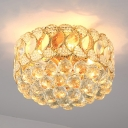 Crystal Ball Round Ceiling Mount Contemporary 3 Lights Gold Flush Mount Lighting Fixture for Hallway