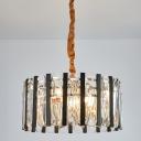 Black and Gold Drum Chandelier Light Modernism 6 Heads Crystal Block Pendant Lighting for Living Room