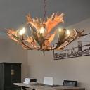 Resin Deer Antler Ceiling Chandelier Rustic 8 Heads Suspension Pendant Light in Brown