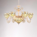 Stained Glass Beige Chandelier Light Arched Arm 8 Heads Tiffany-Style Hanging Pendant for Living Room