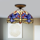 Stained Glass Dragonfly Ceiling Fixture Tiffany 1 Light Blue/Purple/Yellow Flushmount Ceiling Lamp for Living Room