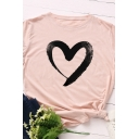 Fashion Girls' Roll Up Sleeve Crew Neck Heart Printed Relaxed T-Shirt