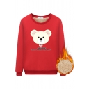 Preppy Looks Long Sleeve Round Neck Bear Printed HEY BABE Letter Sherpa Liner Relaxed Pullover Sweatshirt for Girls