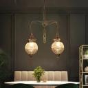 Crackle Glass Silver Pendant Lamp Orb 2 Lights Vintage Chandelier Light Fixture for Dining Room
