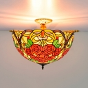 Stained Glass Floral Ceiling Fixture Victorian 5 Lights Brass Flush Mount Light for Bedroom