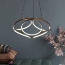 Led Twisted Ceiling Pendant Modern Aluminum Bronze Chandelier Light for Bedroom
