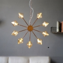 Amber/Clear Glass Diamond Pendant Light Vintage Style 6/9/12 Lights Black/Brass/Copper Finish Hanging Chandelier Lamp