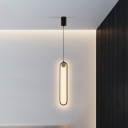 Metal Oval Pendant Lighting Fixture Modern Black LED Suspension Light for Bedroom