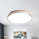 Simple Disk Flush Mount Fixture Wood Living Room LED Ceiling Lighting in White, 12.5