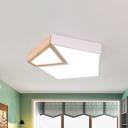 Wood Pentagon Flush Mount Lighting Minimalist White/Green LED Ceiling Light Fixture, Warm/White Light
