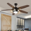 Brown Dome Ceiling Fan Lamp Traditional Amber Glass 5 Lights Restaurant Semi Mount Lighting, Wall/Remote Control