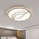 Leaf Metal Flush Light Simple Style Gray LED Ceiling Fixture for Bedroom, 16
