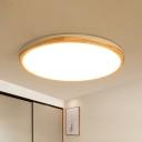 Wood Disk Ceiling Light Fixture Contemporary White LED Flush Mount Lighting in Warm/White Light, 14